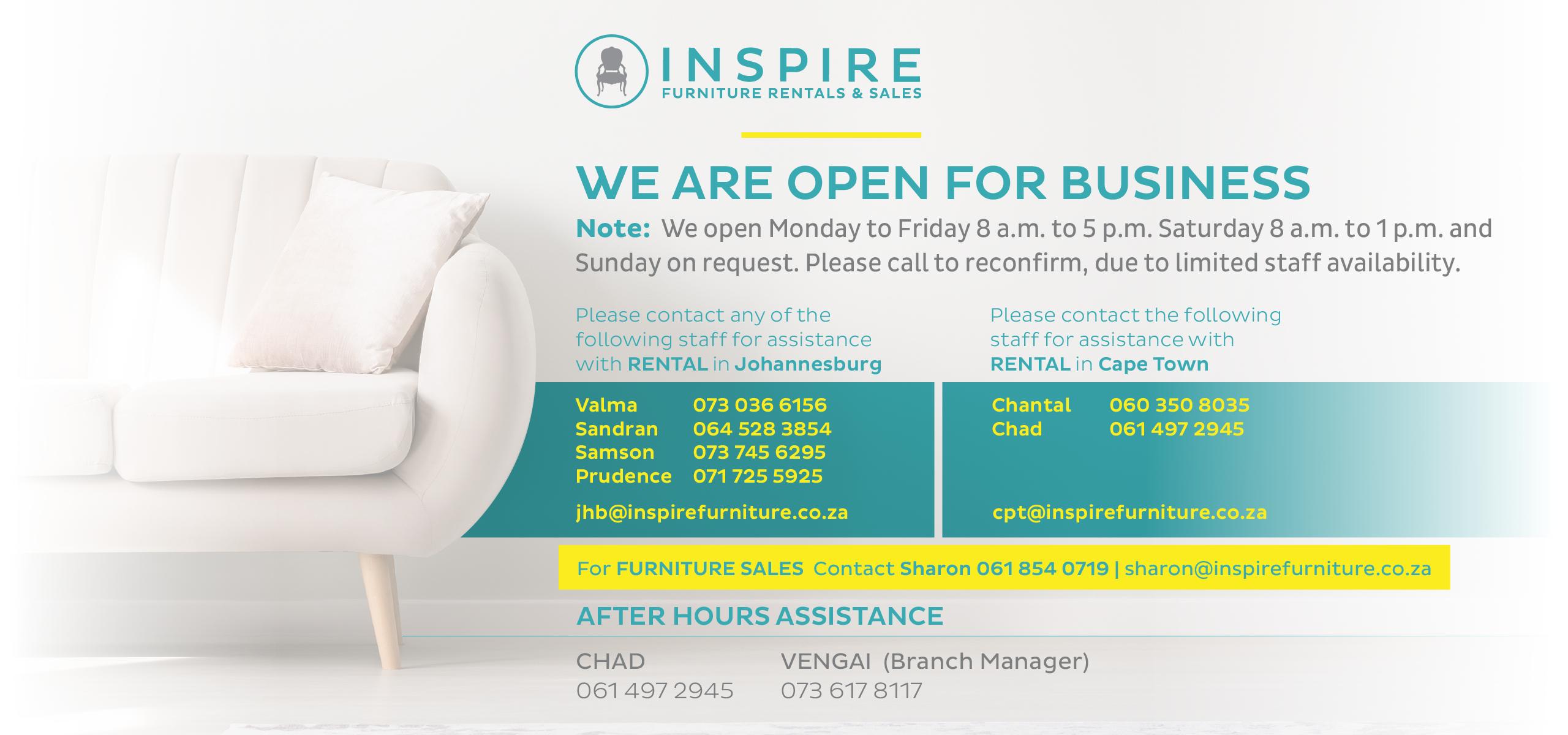 Inspire Furniture  Furniture Rentals & Sales  Event Furniture Hire